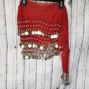 Red Gypsy Bellydance Skirt with Silver Coins